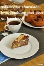 Suikervrije chocoladebroodpudding met hazelnoot en peer - Fiekefatjerietjes